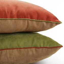 DOZZZ 2 Pack Decorative Throw Pillow with Corduroy Contrast