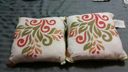 Fall Harvest Color Autumn Throw Pillows Set of 2  Square 14""