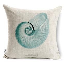 Kingla Home Coastal Theme Blue Conch Shell Throw Pillow Case