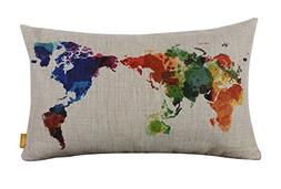 "LINKWELL 18"" x 11"" Modern Fashion Watercolor World Map Color"