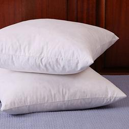 Set of 2, Down and Feather Throw Pillow Insert, 100% Cotton,