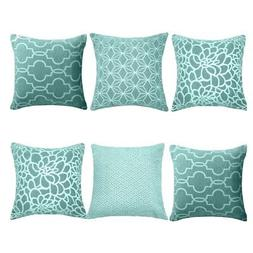 MRNIU Set of 6 Throw Pillow Covers Coastal Cushions 100% Cot