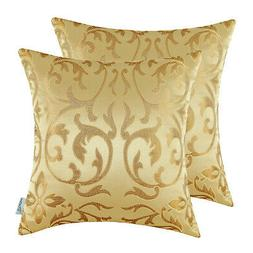 Pack of 2 Gold Cushion Cover Throw Pillow Cover CaliTime Flo