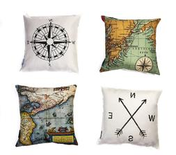 Map art throw square cushion cover pillow case navigation th