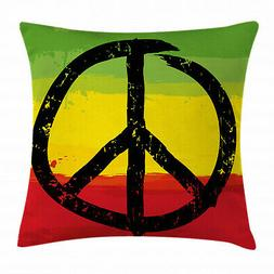 Rasta Throw Pillow Case Grunge Hippie Peace Sign Square Cush