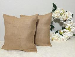 Set of 2 16x16 Burlap Throw Pillow Covers French Country Jut