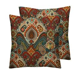 Set of 2 -In/Outdoor Throw Pillows Bohemian Paisley -Teal Re