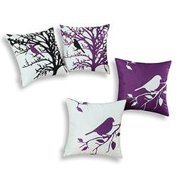 Set of 4, CaliTime Soft Canvas Throw Pillow Covers Cases for
