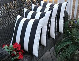 Set of 4 In/Outdoor Square Throw / Toss Pillows - Black & Wh