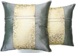 Set of Two Metallic Silver Silk Throw Cushion Pillow Covers