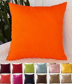 "TangDepot Cotton Solid Throw Pillow Covers, 24"" x 24"" , Oran"