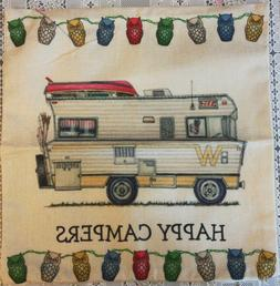 Throw Pillow Cover Camping Camper Pattern 17 x 17 WINNEBAGO