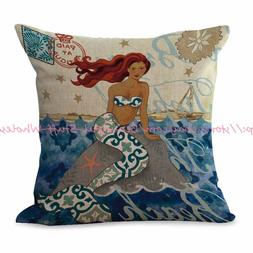 US SELLER-mermaid cushion cover throw pillows for bed decora