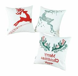 White Christmas, Reindeer Pillow Covers Set of 3 CaliTime Th