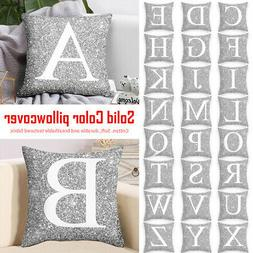 A-Z Letters Cushion Silver Throw Pillow Case Cover Home Sofa