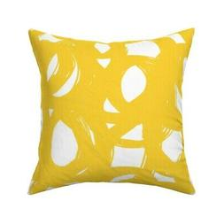 Abstract Doodles Yellow Modern Throw Pillow Cover w Optional