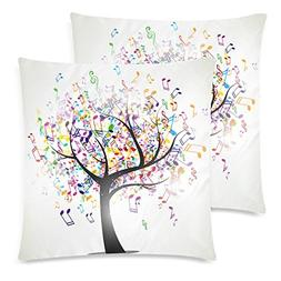 InterestPrint 2 Pack Abstract Music Note Tree Throw Cushion