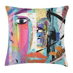 Ambesonne Abstract Throw Pillow Cushion Cover, Woman Face Ar