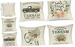 AENEY Spring Pillow Covers 18x18 for Couch Set of 4 Farmhous