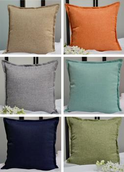 Aiking Home Solid Faux Linen Throw Pillow COVER, Multi Size