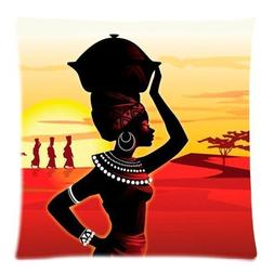 Amy Like Pillowcases African Woman Square Zippered Pillowcas