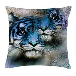 Ambesonne Animal Decor Throw Pillow Cushion Cover, Two Tiger
