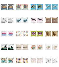 Ambesonne Animal Pattern Cushion Cover Set of 2 for Couch an