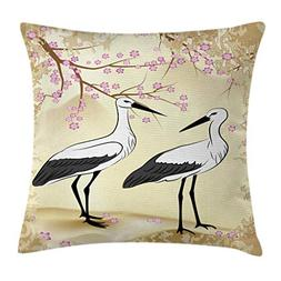 Ambesonne Animal Throw Pillow Cushion Cover, Two Storks Look