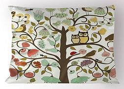 Ambesonne Animals Pillow Sham by, Retro Style Tree with Flow