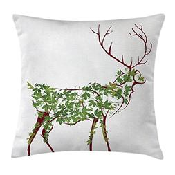 Antlers Throw Pillow Cushion Cover by Ambesonne, Designer De