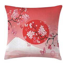 Asian Throw Pillow Cushion Cover by Ambesonne, Japanese Cher