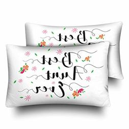 InterestPrint Best Aunt Ever with Flower Accents Pillow Case