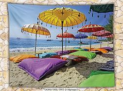 Balinese Decor Fleece Throw Blanket Pristine Beach Bathed by