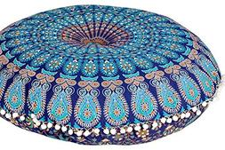 Plush Decor Large Floor Cushion Cover Kids Meditation Mandal