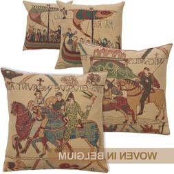 Bayeux Medieval Tapestry Throw Pillow Cover 16x16 Belgian Wo