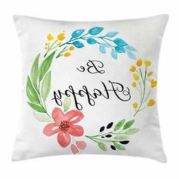 Be Happy Throw Pillow Cases Cushion Covers Ambesonne Home De