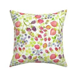 Berry Bush Watercolor Kitchen Throw Pillow Cover w Optional