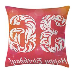 Ambesonne 36th Birthday Throw Pillow Cushion Cover, Ombre Vi