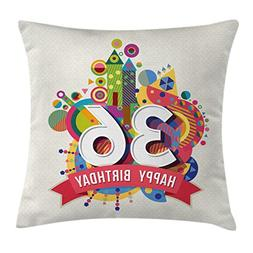Ambesonne 36th Birthday Throw Pillow Cushion Cover, Thirty S
