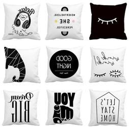 Black And White Abstract Wink Eyes Throw Pillow Case Linen S