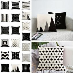 Black and White Geometric Cushion Cover Pillow Case Home Sof