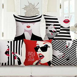 Black and White Style Fashion Make-up Lady Throw Pillow Case