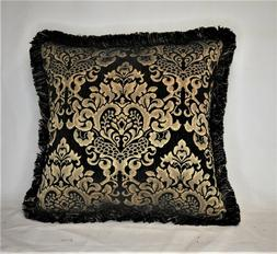 black gold geometric chenille fringed throw pillows for sofa