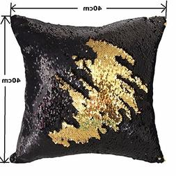 MOCOFO Black and Gold Sequin Pillow Cover, Double Colors Rev