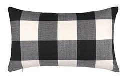 4TH Emotion 12 x 20 Inch Black and White Buffalo Check Plaid