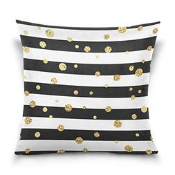 ALAZA Black and White Stripe Cotton Pillowcase 20 X 20 Inche