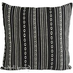 "Eyes of India 24"" Black White Large Striped Dhurrie Colorful"
