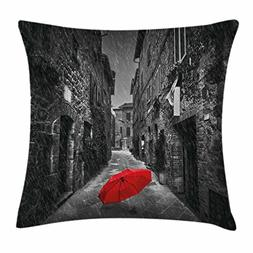 Black and White Throw Pillow Cushion Cover by Ambesonne, Red