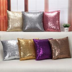 bling sequins throw pillow cover glitter silver
