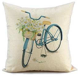 FIBEROMANCE Blue Bicycle Decorative Throw Pillow Cover Sprin